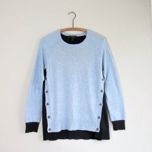 J. Crew two tone blue buttoned sides sweater